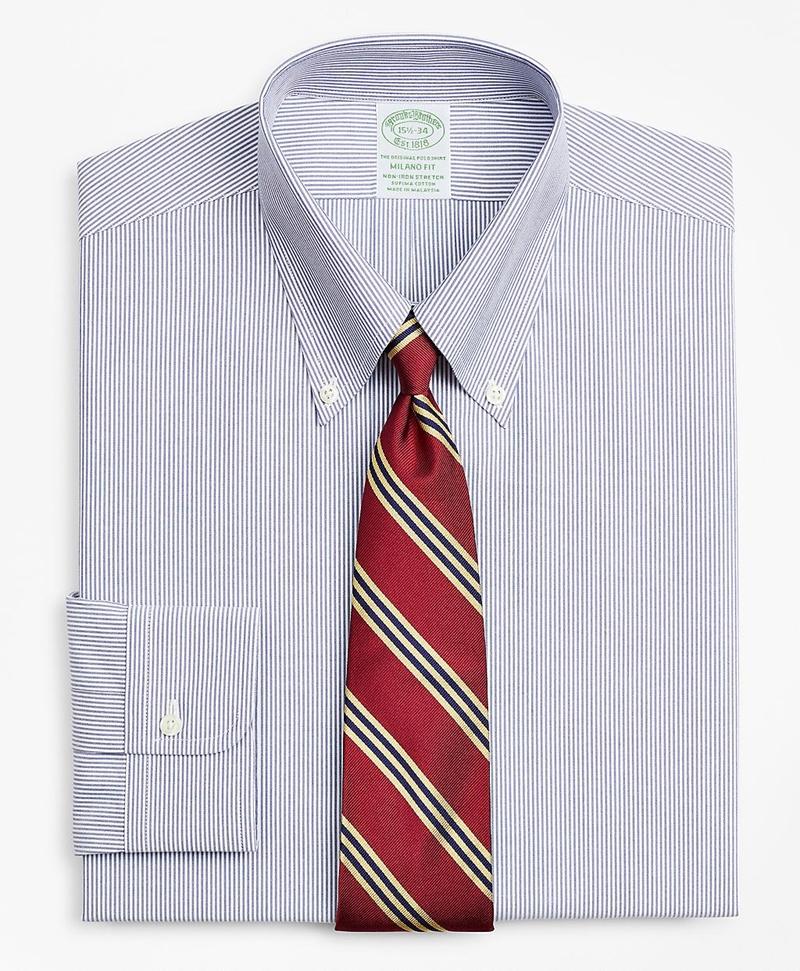 Stretch Milano Slim-Fit Dress Shirt, Non-Iron Poplin Button-Down Collar Fine Stripe 썸네일 이미지 1