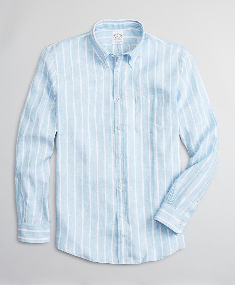 Regent Fitted Sport Shirt, Irish Linen Large Stripe 썸네일 이미지 1