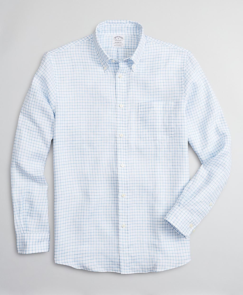 Regent Fitted Sport Shirt, Irish Linen Mini-Check 썸네일 이미지 1