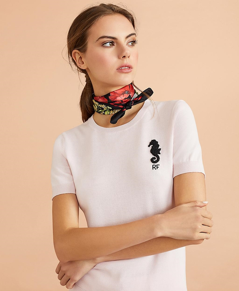 Beaded Seahorse Short-Sleeve Cotton Sweater 썸네일 이미지 1