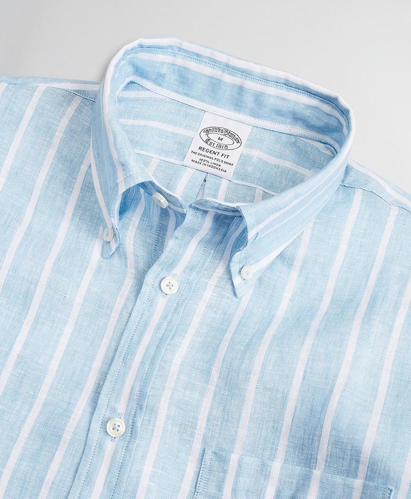 Regent Fitted Sport Shirt, Irish Linen Large Stripe 썸네일 이미지 2