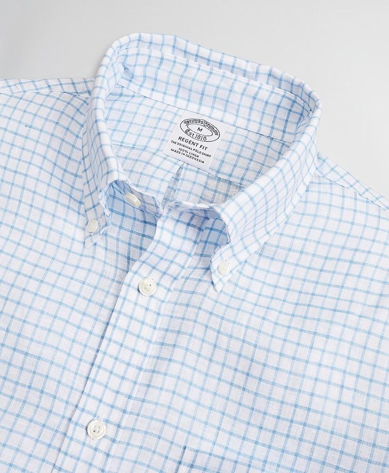 Regent Fitted Sport Shirt, Irish Linen Mini-Check 썸네일 이미지 2