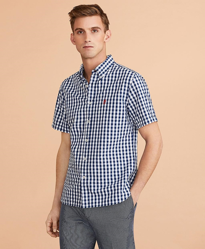 Gingham Seersucker Short-Sleeve Shirt 썸네일 이미지 2