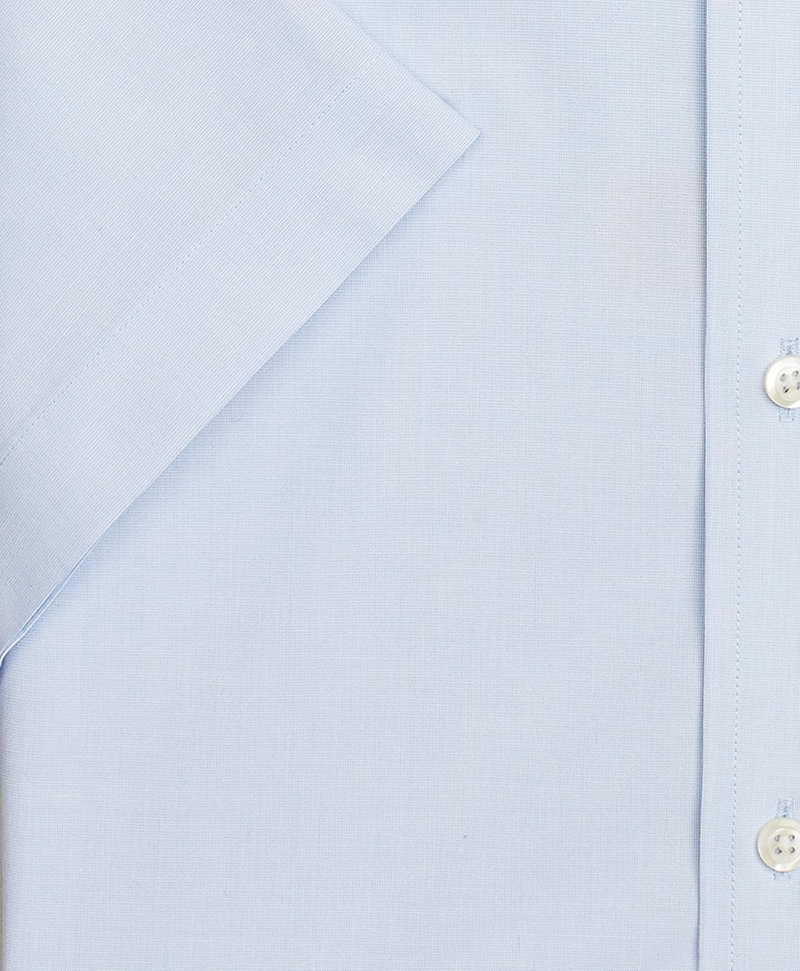 Stretch Milano Slim-Fit Dress Shirt, Non-Iron Poplin End-on-End Short-Sleeve 썸네일 이미지 3