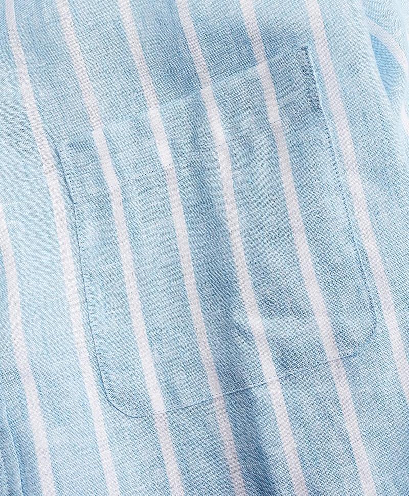 Regent Fitted Sport Shirt, Irish Linen Large Stripe 썸네일 이미지 3