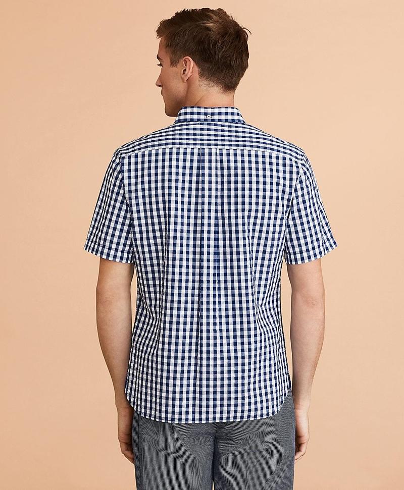 Gingham Seersucker Short-Sleeve Shirt 썸네일 이미지 3