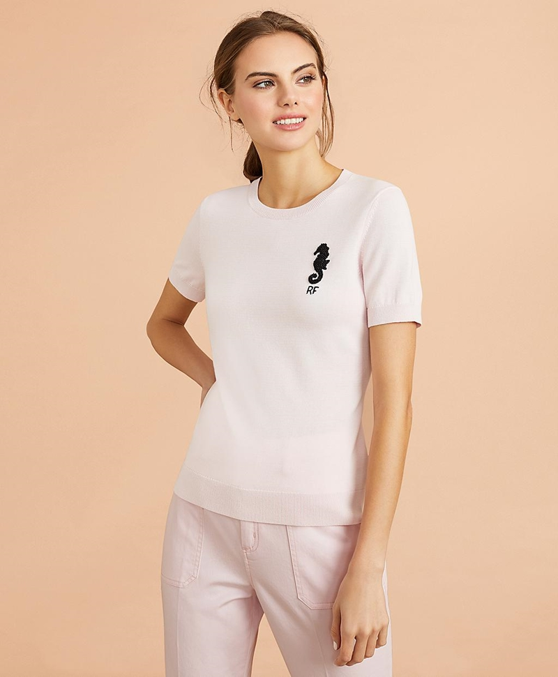 Beaded Seahorse Short-Sleeve Cotton Sweater 썸네일 이미지 3
