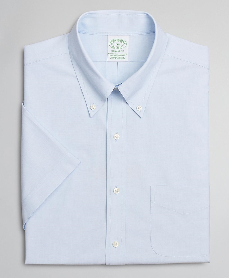 Stretch Milano Slim-Fit Dress Shirt, Non-Iron Poplin End-on-End Short-Sleeve 썸네일 이미지 4