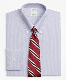 스트레치 밀라노 슬림핏 드레스 셔츠, 논 아이론 포플린 버튼 다운 칼라 파인 스트라이프 (네이비)