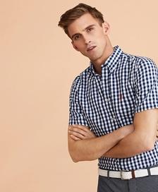 레드플리스 깅엄 시어서커 숏 슬리브 셔츠 (네이비)