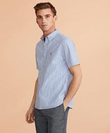 레드플리스 스트라이프 시어서커 숏 슬리브 셔츠 (블루)