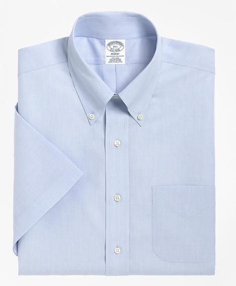 리젠트 핏티드 드레스 셔츠, 논 아이론 숏 슬리브 (라이트 블루)