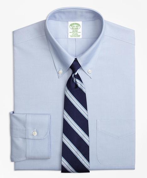 스트레치 밀라노 슬림핏 드레스 셔츠, 논 아이론 핀포인트 버튼 다운 칼라 (블루)