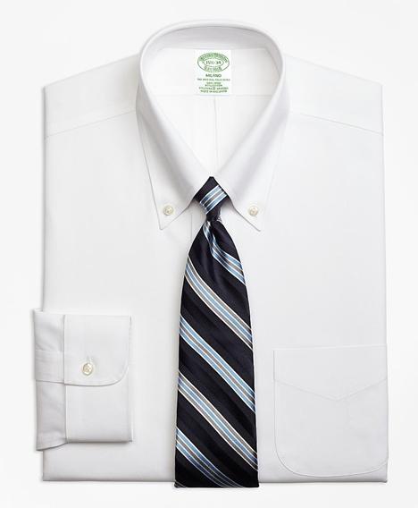 스트레치 밀라노 슬림핏 드레스 셔츠, 논 아이론 핀포인트 버튼 다운 칼라 (화이트)
