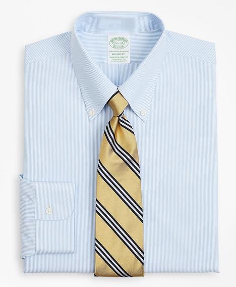스트레치 밀라노 슬림핏 드레스 셔츠, 논 아이론 포플린 버튼 다운 칼라 파인 스트라이프 (라이트 블루)