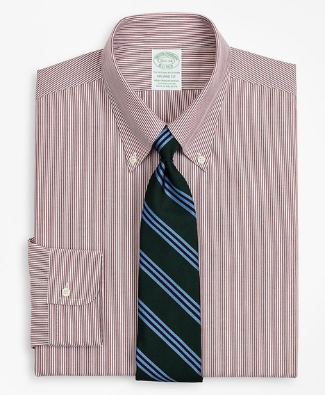 스트레치 밀라노 슬림핏 드레스 셔츠, 논 아이론 포플린 버튼 다운 칼라 파인 스트라이프 (레드)