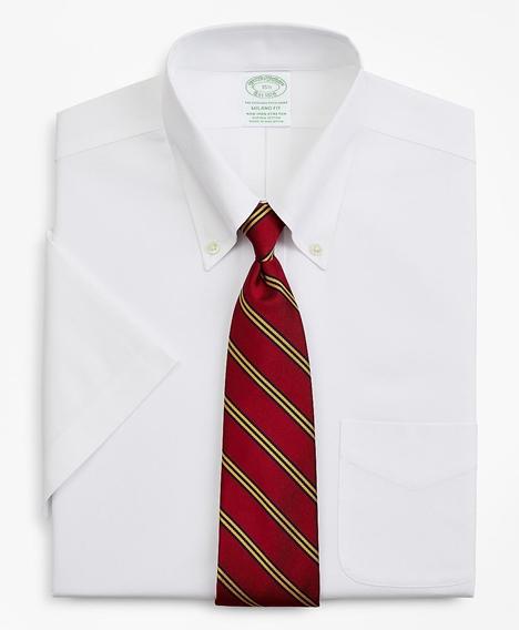 스트레치 밀라노 슬림핏 드레스 셔츠, 논 아이론 핀포인트 숏 슬리브 (화이트)