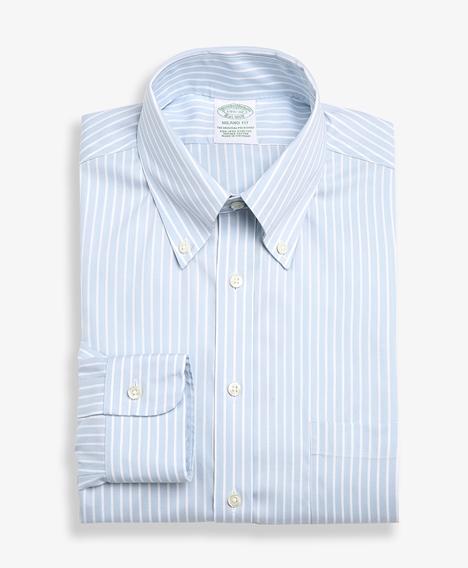 논아이론 슬림핏 스트라이프 드레스 셔츠 (라이트블루)