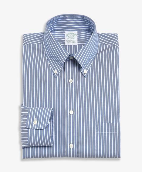논아이론 슬림핏 스트라이프 드레스 셔츠 (블루)