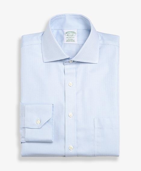 논 아이론 마이크로 체크 드레스 셔츠 (라이트블루)