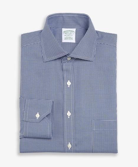 논 아이론 마이크로 체크 드레스 셔츠 (네이비)