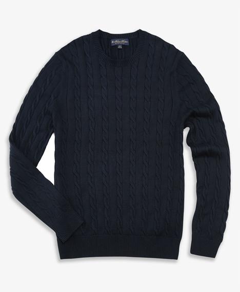 수피마 코튼 케이블 크루넥 스웨터 (네이비)