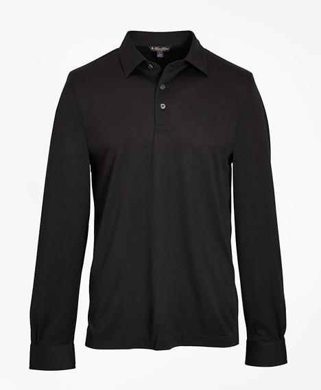 테일러드 라이트웨이트 수피마® 코튼 피케 롱 슬리브 폴로 셔츠 (블랙)