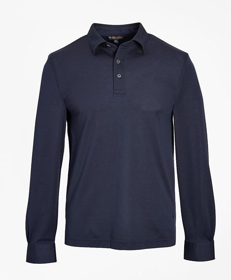테일러드 라이트웨이트 수피마® 코튼 피케 롱 슬리브 폴로 셔츠 (네이비)