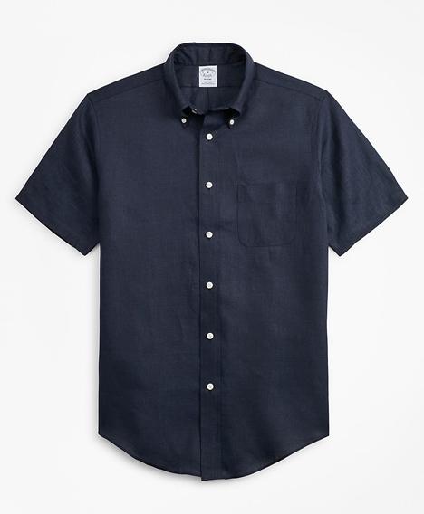 리젠트핏 아이리쉬 리넨 숏-슬리브 스포츠 셔츠 (네이비)