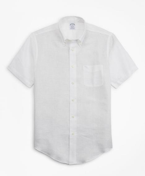 리젠트핏 아이리쉬 리넨 숏-슬리브 스포츠 셔츠 (화이트)
