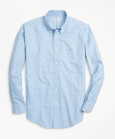 논 아이론 리젠트 핏 헤더드 깅엄 스포츠 셔츠 (블루)
