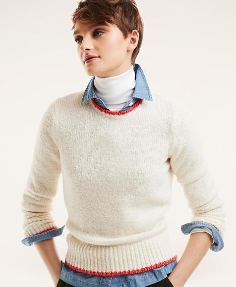 울-코튼 블렌드 팁트 스웨터 (화이트)