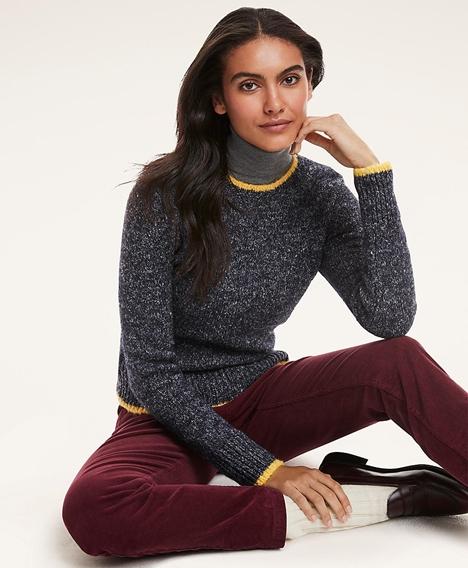 울-코튼 블렌드 팁트 스웨터 (네이비)