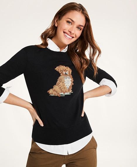코튼-캐시미어 자수 포인트 도그 스웨터