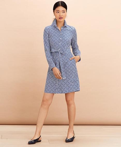 레드플리스 로고 프린트 스트라이프 코튼 포플린 셔츠 드레스