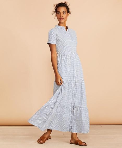 레드플리스 코튼 숏 슬리브 스트라이프 셔츠 드레스