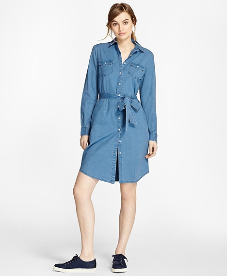 레드플리스 코튼 샴브레이 셔츠 드레스 (라이트블루)