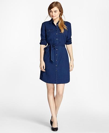 레드플리스 코튼 샴브레이 셔츠 드레스 (다크블루)