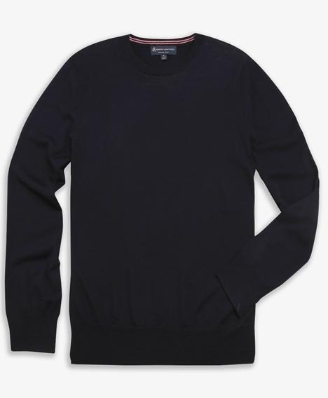 워셔블 메리노 울 크루넥 스웨터 (네이비)