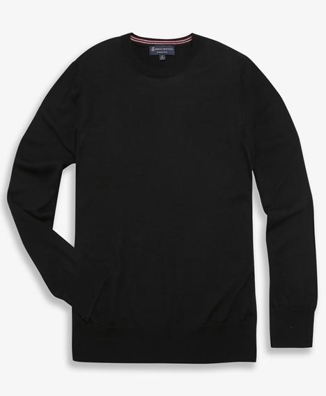 워셔블 메리노 울 크루넥 스웨터 (블랙)