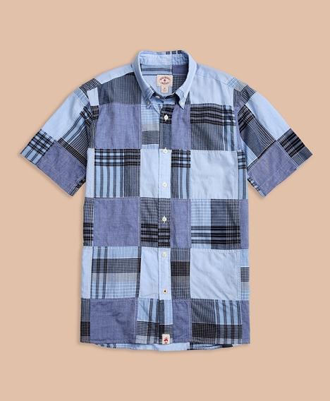 레드플리스 숏 슬리브 마드라스 패치워크 스포츠 셔츠