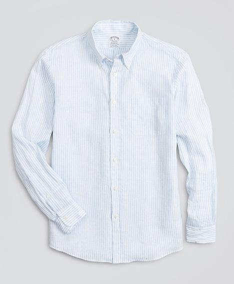 리젠트핏 스포츠 셔츠, 아이리쉬 리넨 라지 스트라이프 (블루)